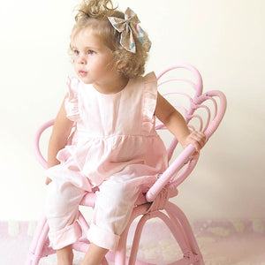 Ruffle Jumpsuit in Baby Pink Linen