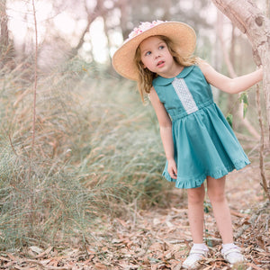 Teal Spinny Ruffle Dress