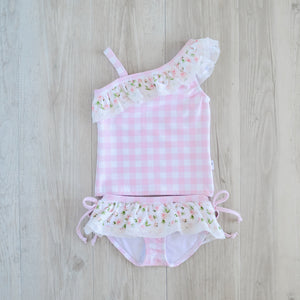 Pink Gingham Ruffle Tankini Swim Top