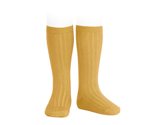 Mustard Ribbed cotton knee-high socks