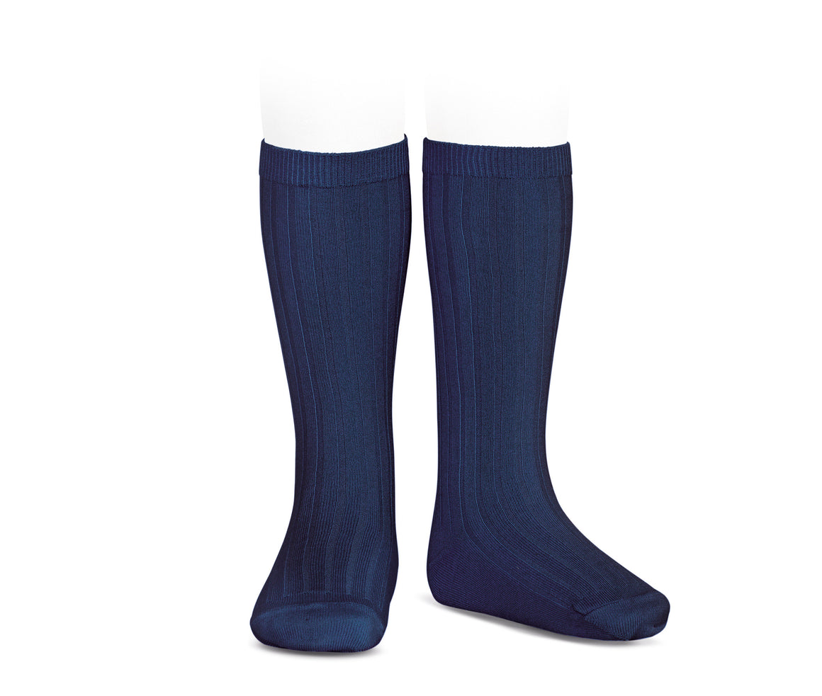 Navy Ribbed cotton knee-high socks