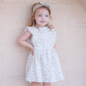 Lavender Floral Linen Ruffle Dress