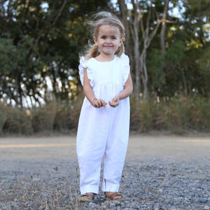 Ruffle Jumpsuit in White Linen