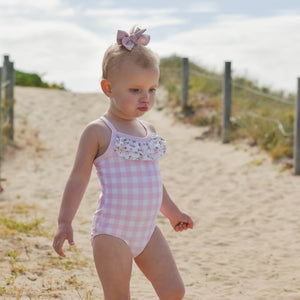 Pink Gingham Ruffle Swimsuit