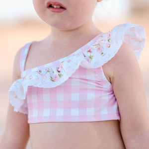 Pink Gingham Ruffle Crop Swim Top