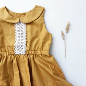 Mustard Spinny Ruffle Dress
