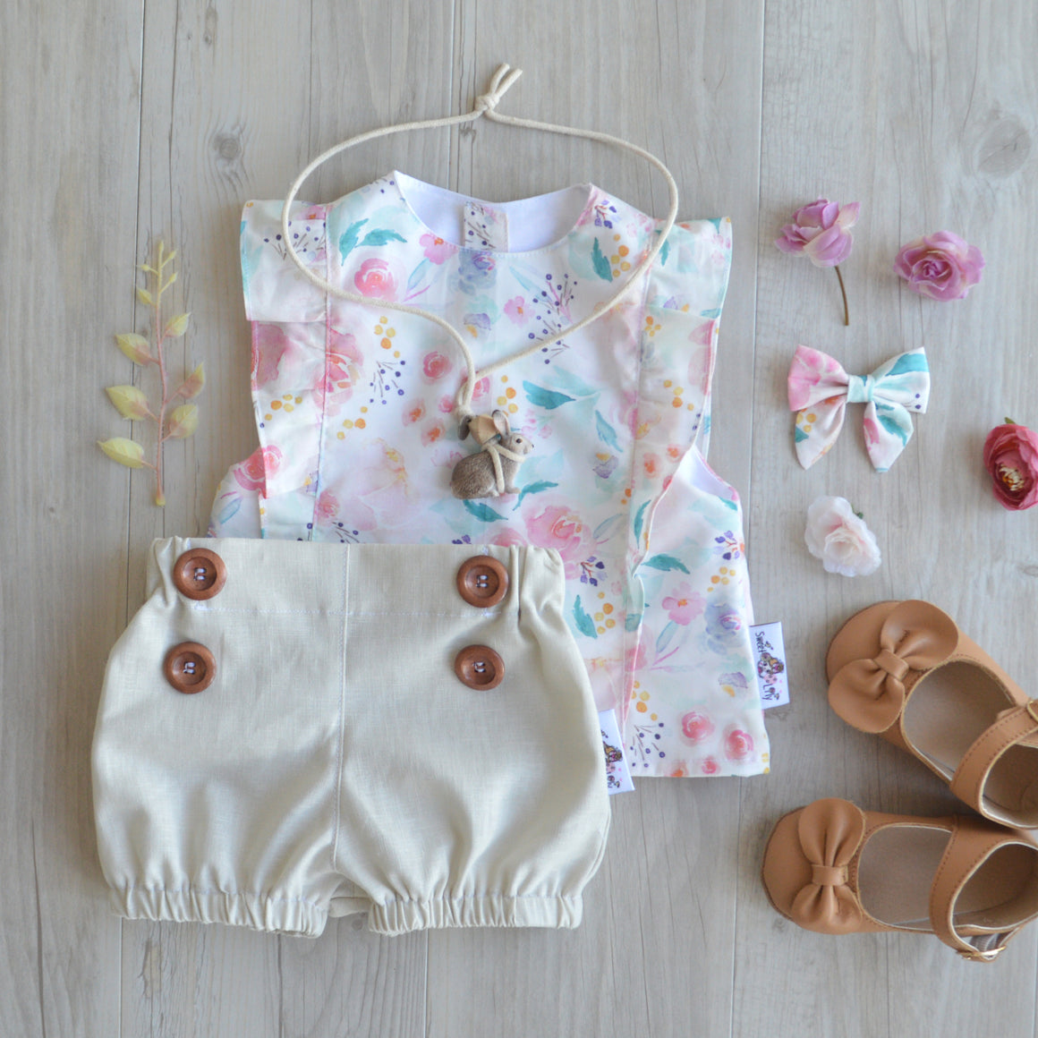 Tan Linen Button Shorties