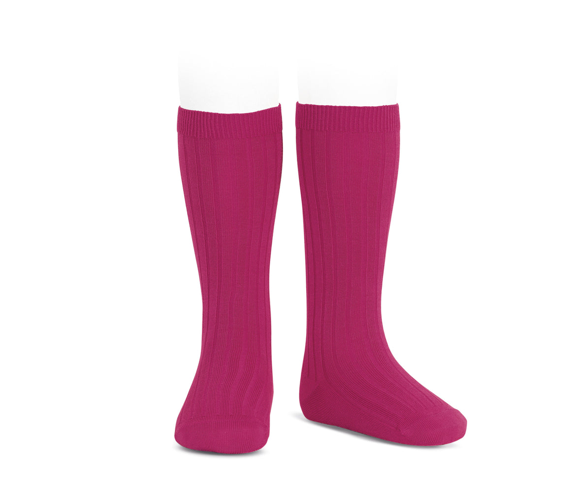 Winterberry Ribbed cotton knee-high socks