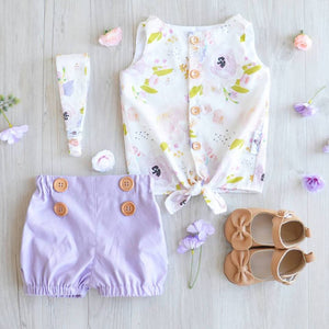 Lavender Button Shorties