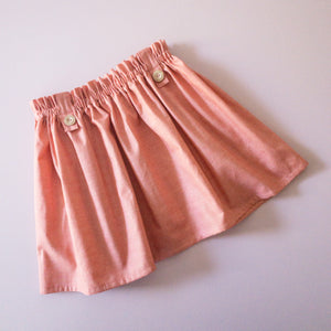 Sweet Lily Signature Skirt in Dark Peach Linen texture