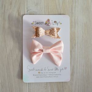 Peaches and Rose Gold Bow Set