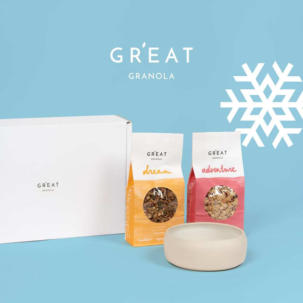 A GR'EAT GIFT  - one handmade bowl and two packs of GR'EAT granola of your choice
