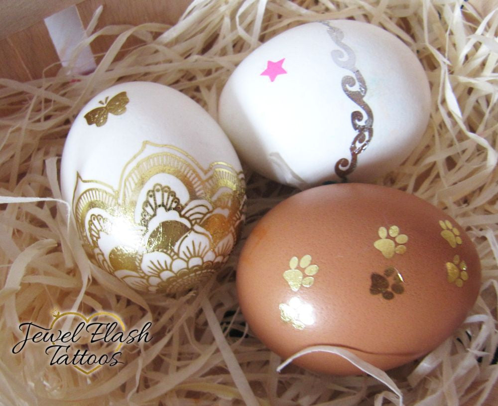 Fancy Gold Easter Eggs: Metallic Tattoos as Egg Decorating Ideas