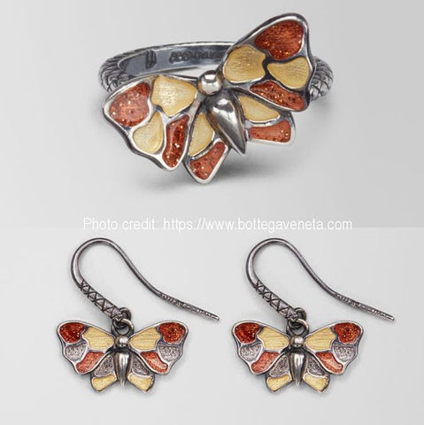 Butterfly jewelry collection for women (ring and earings)