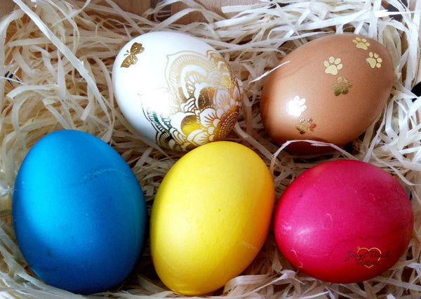 Colorful and gold Easter eggs decorating by Jewel Flash Tattoos | photo