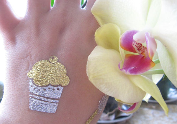 Gold and silver cupcake tattoo for women, spring tattoos | Jewel Flash Tattoos photo