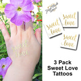 Sweet Love script metallic gold tattoo | Jewel Flash Tattoos image