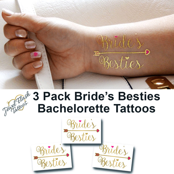 Brides Besties tattoo stickers for bachelorette party, wedding | Photo by Jewel Flash Tattoos