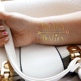 Bride's Besties temporary tattoos for wedding, bachelorette tattoo gold and pink | Photo by Jewel Flash Tattoos