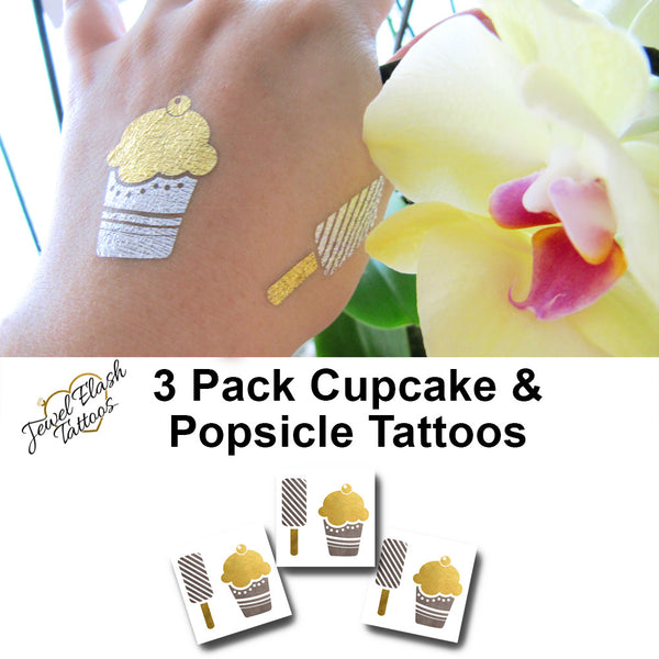 Cupcake temporary metallic tattoos | Jewel Flash Tattoos image