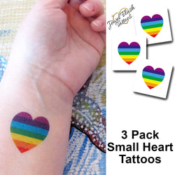 Rainbow heart temporary tattoo | Jewel Flash Tattoos image