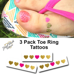 Toe ring temporary metallic gold tattoo | Jewel Flash Tattoos photo