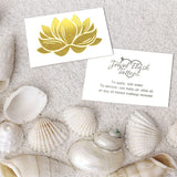 Gold Lotus metallic tattoo and instructions for temporary tats | Image by Jewel Flash Tattoos