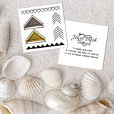 Triangle metallic temporary tattoos front and back with short application instructions