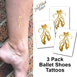 Ballet shoes tattoos temporary metallic gold stickers | Photo by Jewel Flash Tattoos