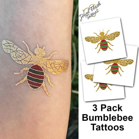 Bumblebee temporary tattoos for women gold, red and green | Photo by Jewel Flash Tattoos
