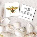 Bee temporary tattoo front and back with instructions | Image by Jewel Flash Tattoos