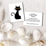 Black cat temporary tattoo front and back with application guide | Jewel Flash Tattoos