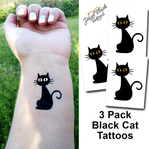 Black Cat Flash Tattoos for women | Temporary Halloween Tattoo Set