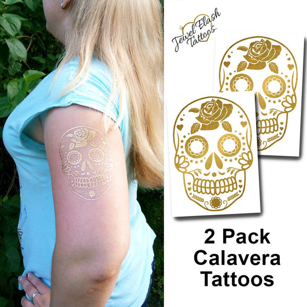 Gold sugar skull tattoos for women, temporary stickers | Photo by Jewel Flash Tattoos