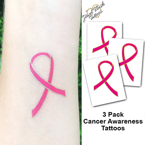 Breast cancer awareness flash tattoos in pink and metallic gold color | Photo by Jewel Flash Tattoos