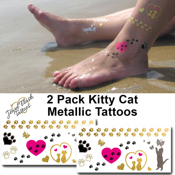 Cat Metallic Temporary Tattoos Set | Jewel Flash Tattoos photo