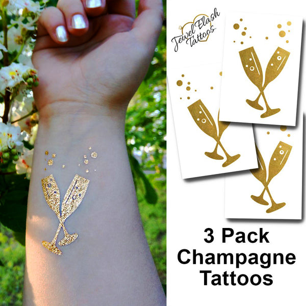 Champagne flute temporary tattoos in metallic gold | Photo by Jewel Flash Tattoos