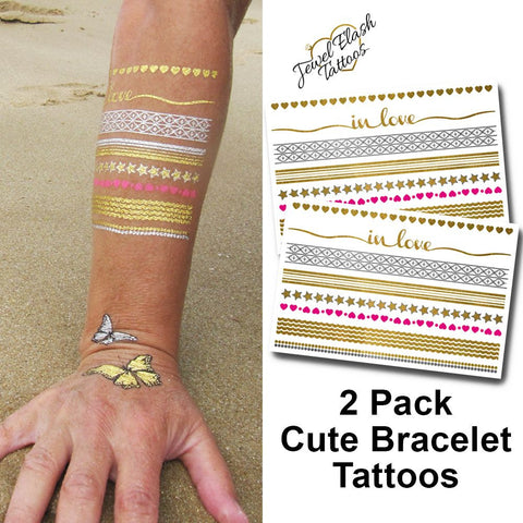 Wrist Bracelet Tattoos in Metallic Gold and Silver Foil | Photo by Jewel Flash Tattoos