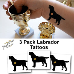 Labrador tattoo for adults, temporary black and gold tattoos | Photo by Jewel Flash Tattoos
