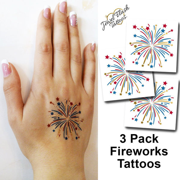 Fireworks temporary tattoos for July 4th parties | Photo by Jewel Flash Tattoos