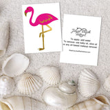 Pink flamingo flash tattoos front and back with application guide | Image by Jewel Flash Tattoos