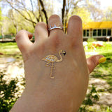 Gold flamingo temporary tattoo size small | Photo by Jewel Flash Tattoos