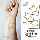 Gold star tattoos inspired by jewelry | Photo by Jewel Flash Tattoos