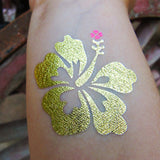 Hibiscus flower temporary tattoos for Hawaiian parties | Photo by Jewel Flash Tattoos
