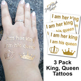 Temporary tattoos for couples Queen and King hashtags | Photo by Jewel Flash Tattoos
