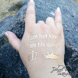 King and queen temporary tattoos for women and men, couples | Jewel Flash Tattoos