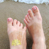 Gold Lotus temporary tattoo stickers for yoga fans and women | Photo by Jewel Flash Tattoos