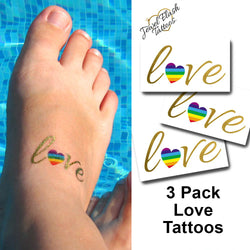 Pride temporary tattoos LGTB Love hashtag with rainbow heart | Photo by Jewel Flash Tattoos