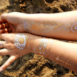 Beach temporary tattoos: mermaid scales, anchor, pearl | Photo by Jewel Flash Tattoos