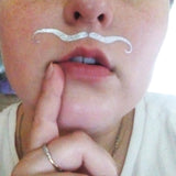 Silver mustache flash tattoo for Halloween, party, women | temporary tattoos